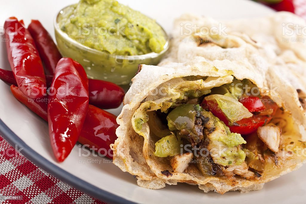 mexican chicken and beef fajitas royalty-free stock photo