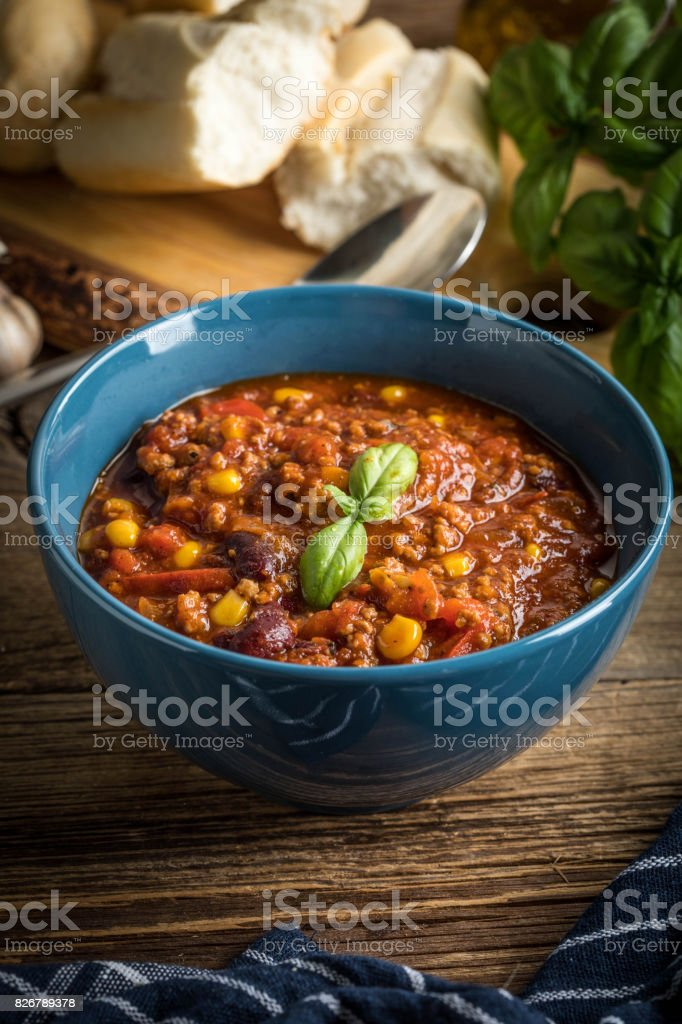 Mexican chili con carne. stock photo