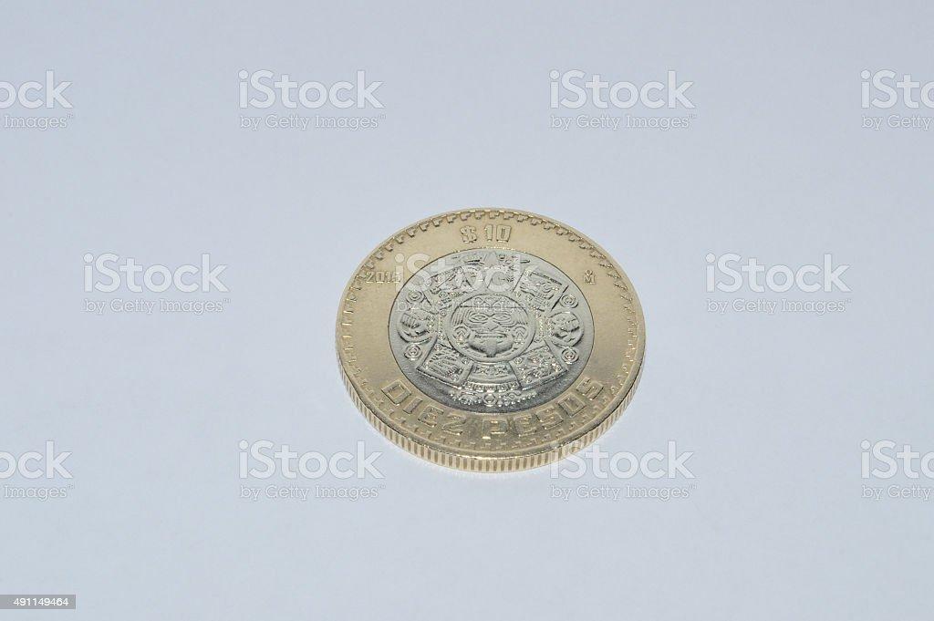 mexican coin of ten pesos stock photo