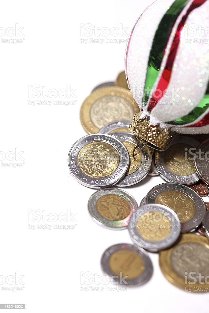 Mexican coins and ornament stock photo