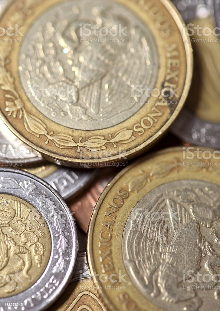 Mexican coins stock photo