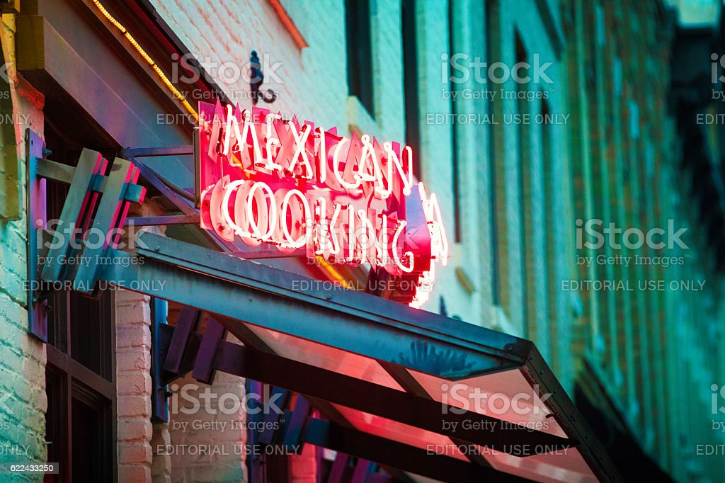 Mexican cooking neon sign in Austin Texas stock photo