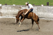 Mexican Cowboy Bronco Riding in Rural Rodeo Arena