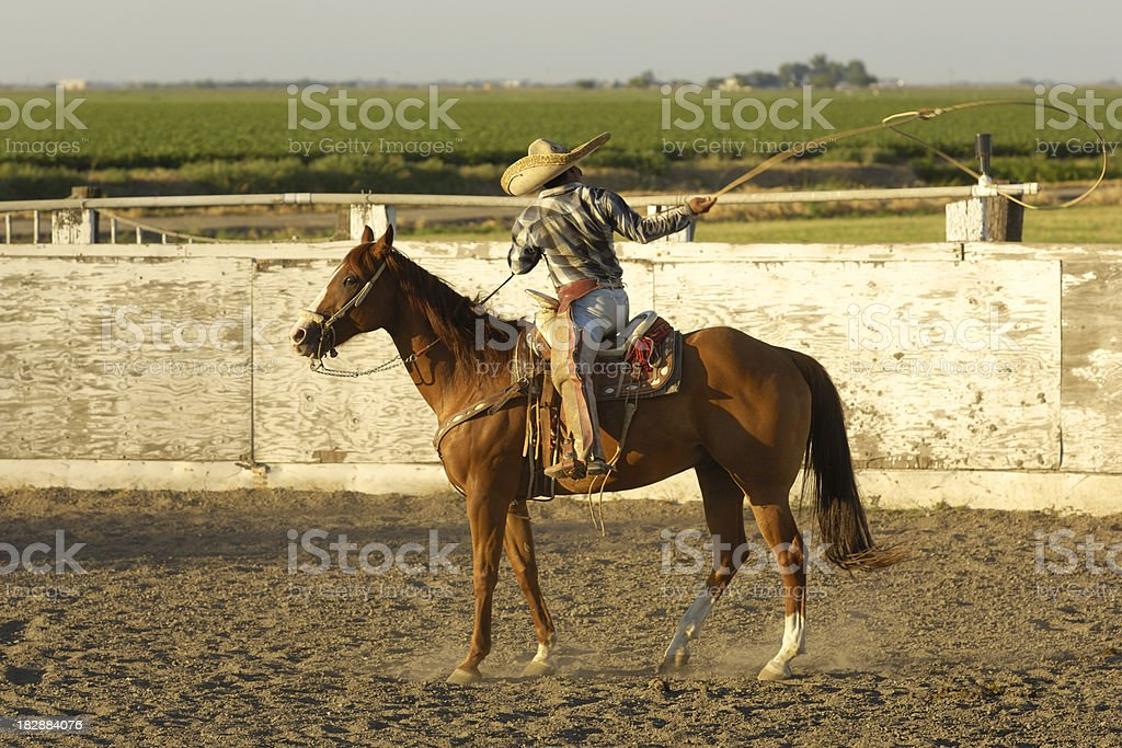 Mexican cowboy in Los Banos, California  stock photo