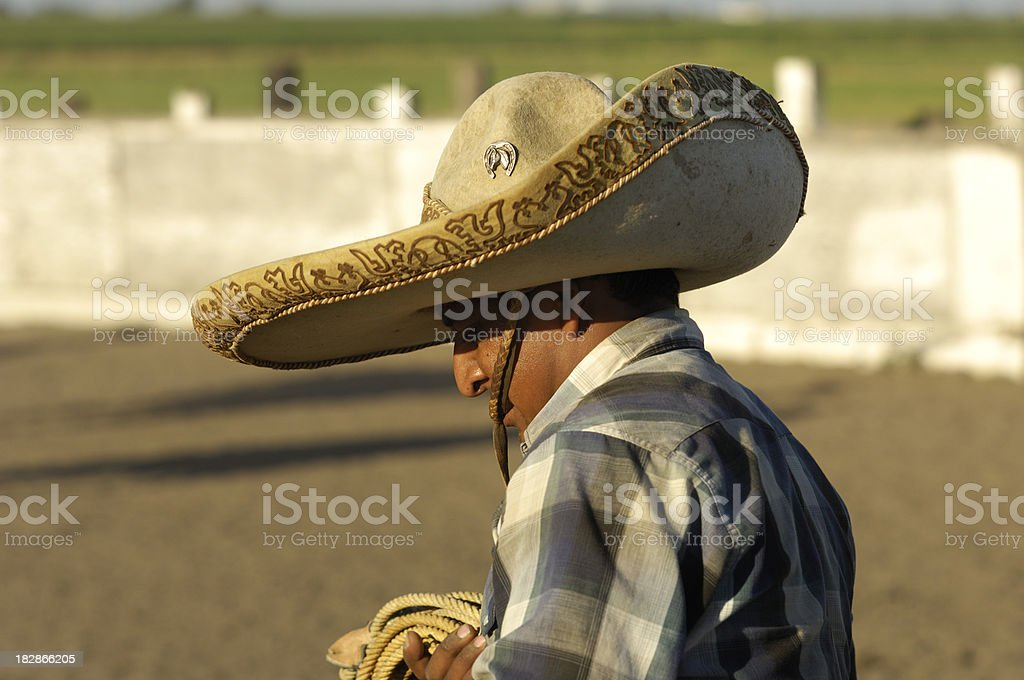 Mexican Cowboy in Rural Rodeo Arena stock photo