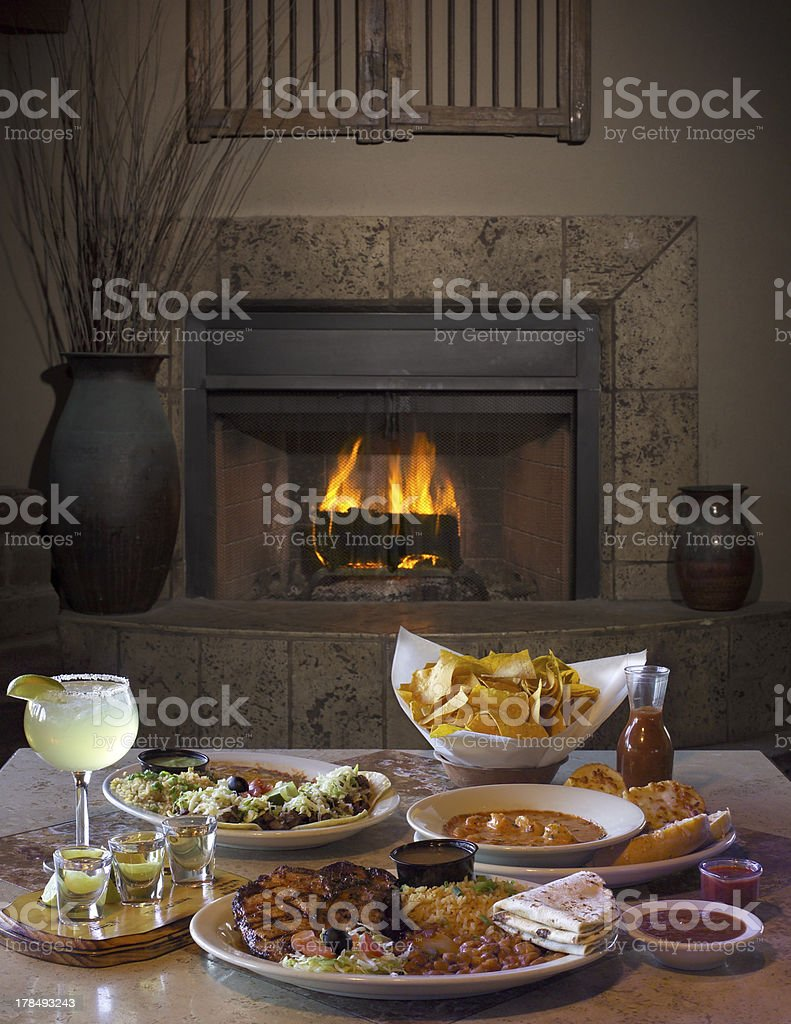 Mexican Cuisine With Fireplace royalty-free stock photo