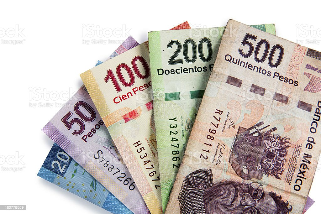 Mexican currency isolated on white stock photo