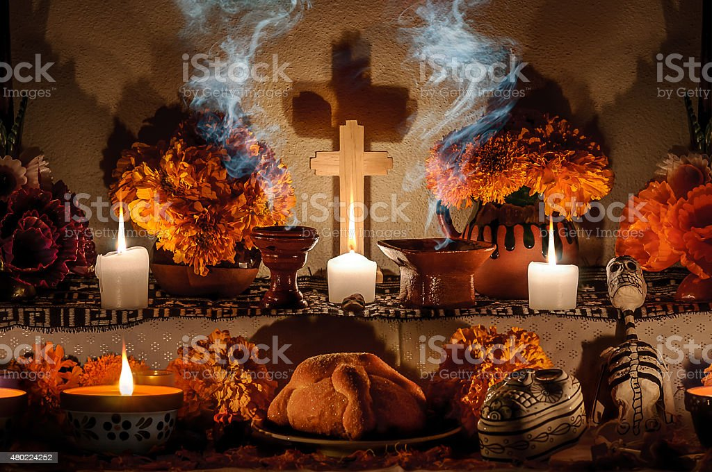 Mexican day of the dead altar (Dia de Muertos) stock photo