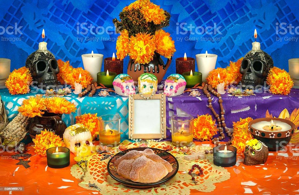 Mexican day of the dead altar (Dia de Muertos) stock photo