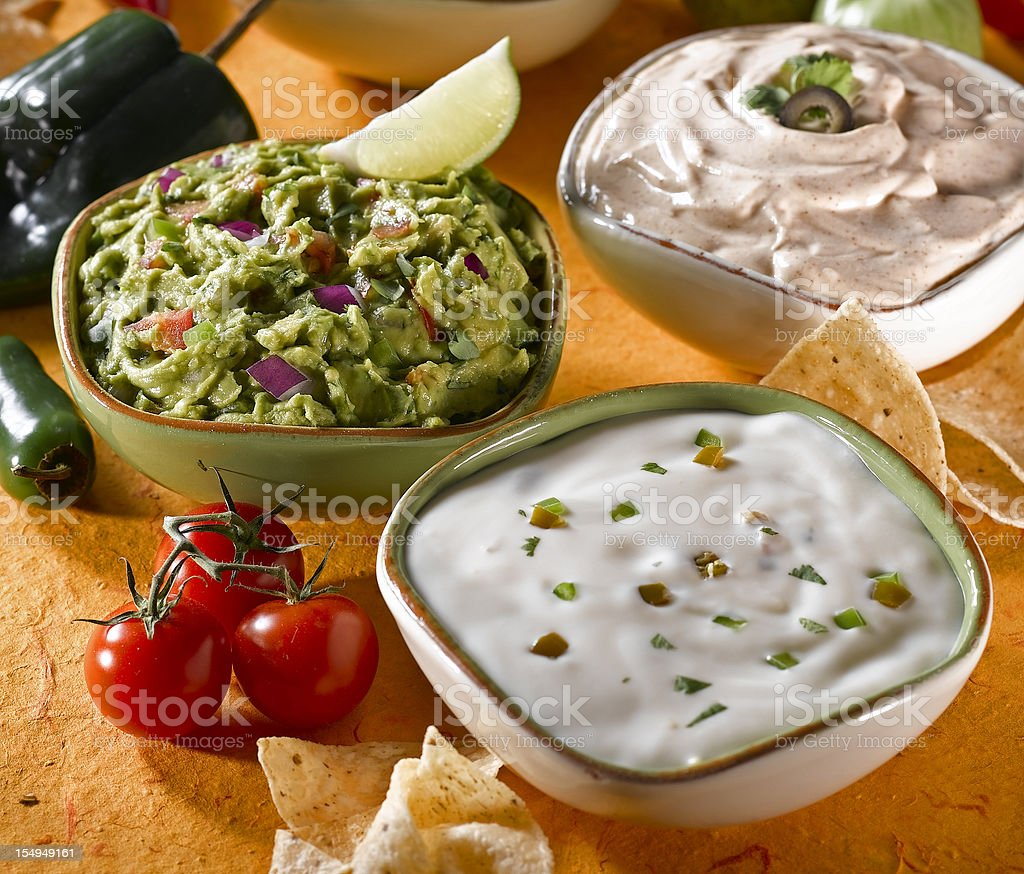 Mexican Dips and Cheese stock photo