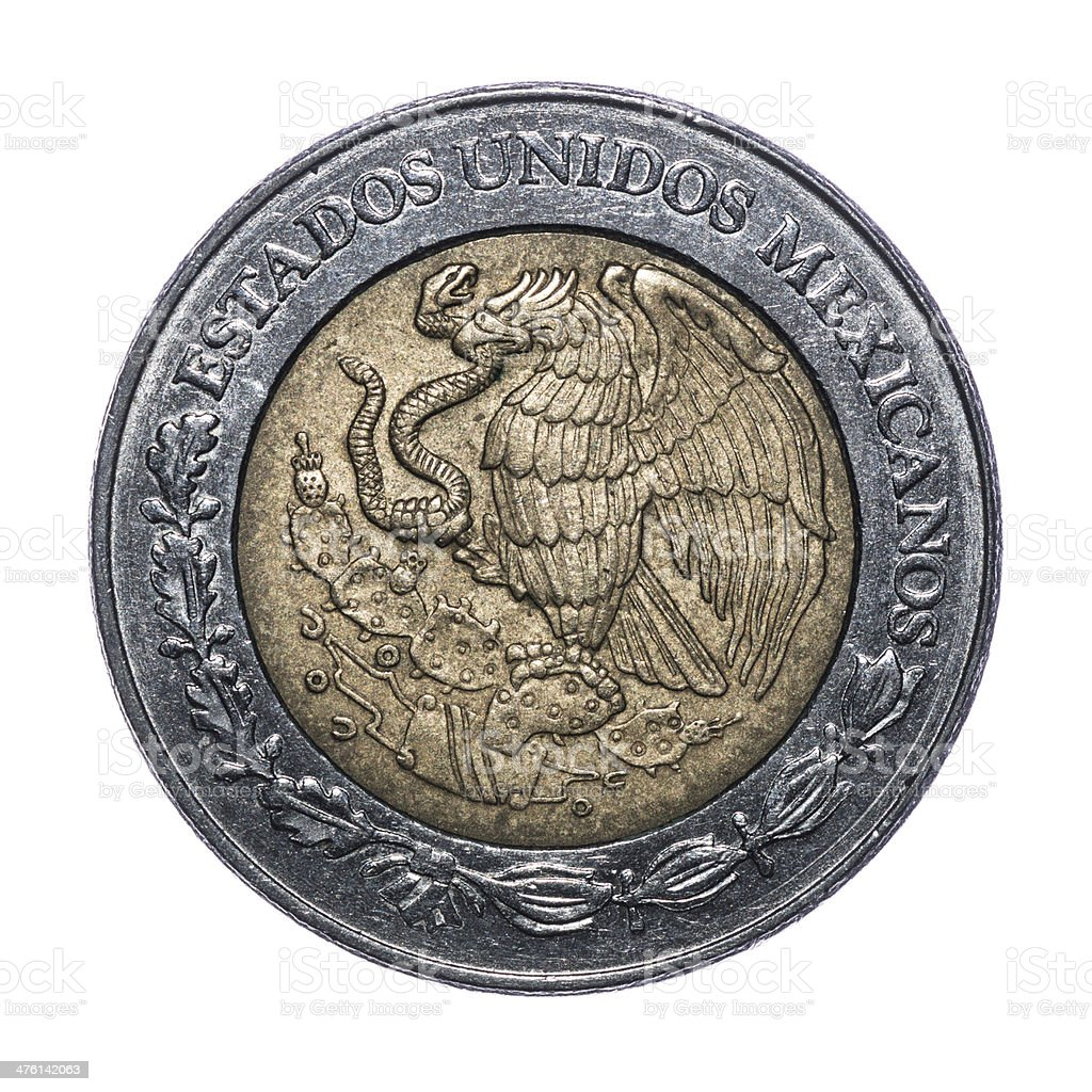 2 Mexican Dollars coin isolated on white (1998) stock photo