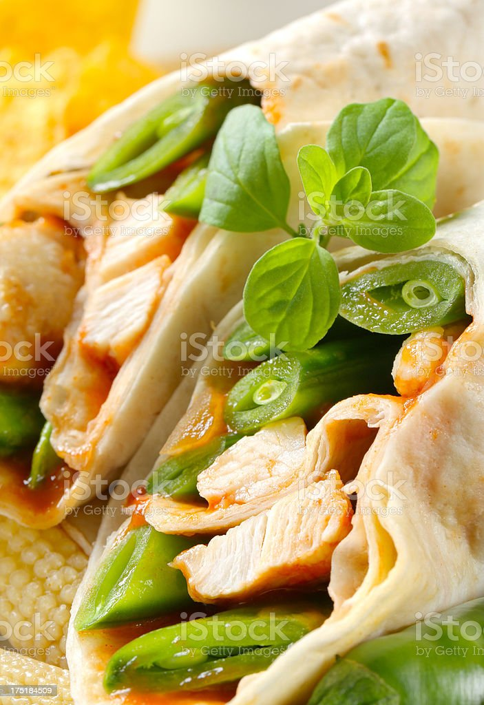 mexican fajitas (tortilla wraps) royalty-free stock photo