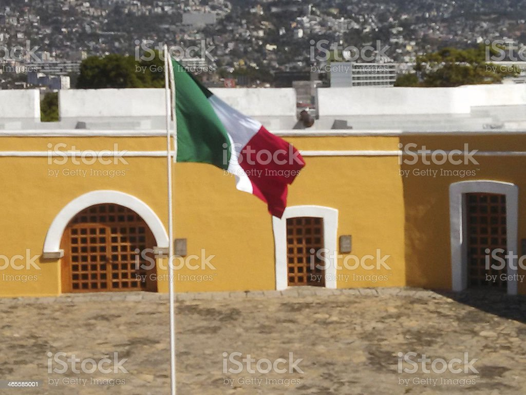 Mexican Flag and courtyard San Diego Fortress Acapulco Mexico stock photo