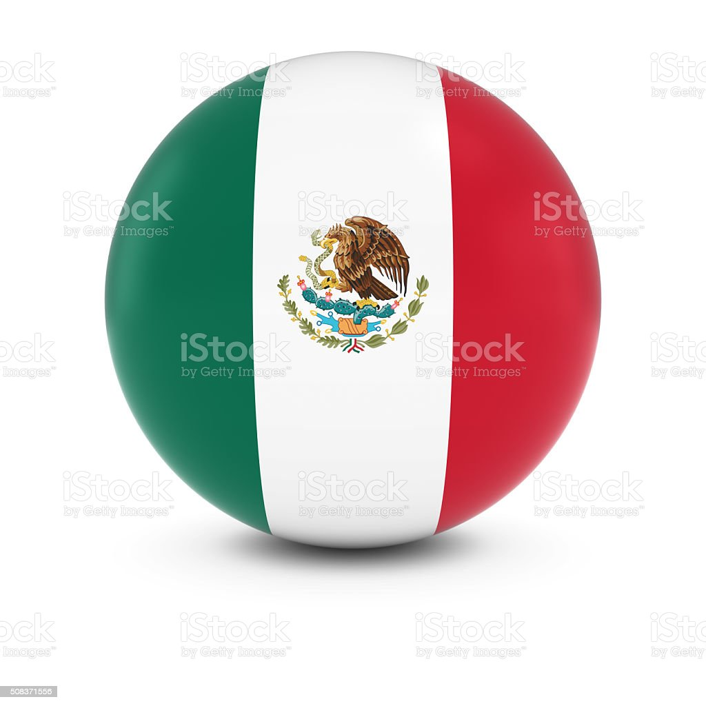 Mexican Flag Ball - Flag of Mexico on Isolated Sphere stock photo