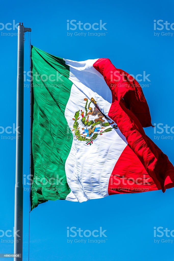 Mexican Flag Close Up stock photo