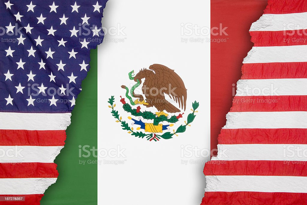 Mexican flag dividing an American One royalty-free stock photo