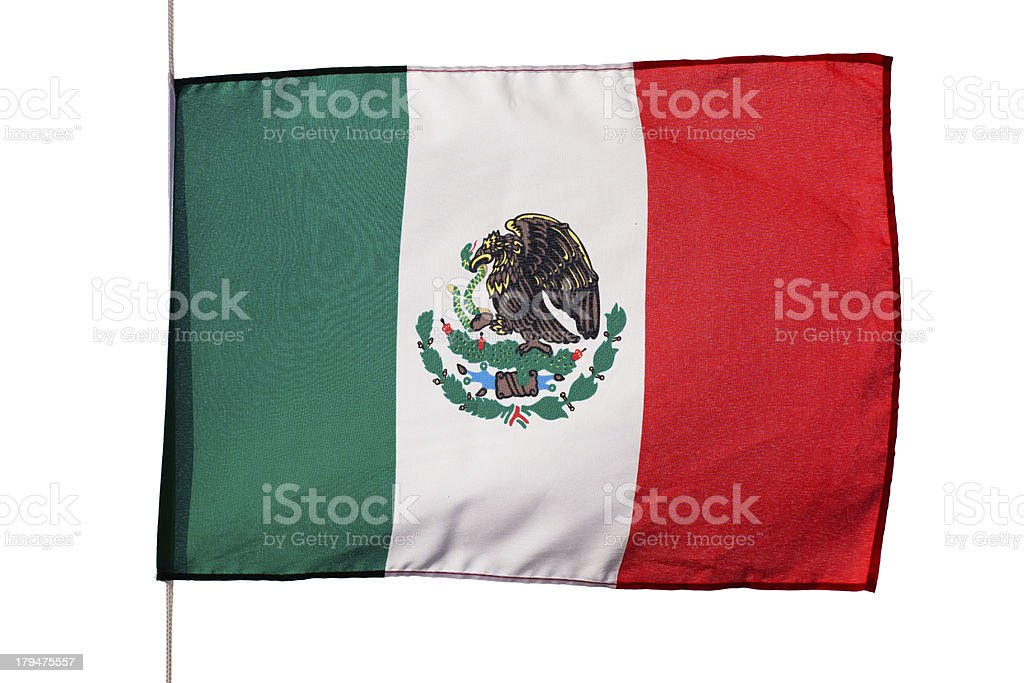 Mexican flag in wind on white background royalty-free stock photo