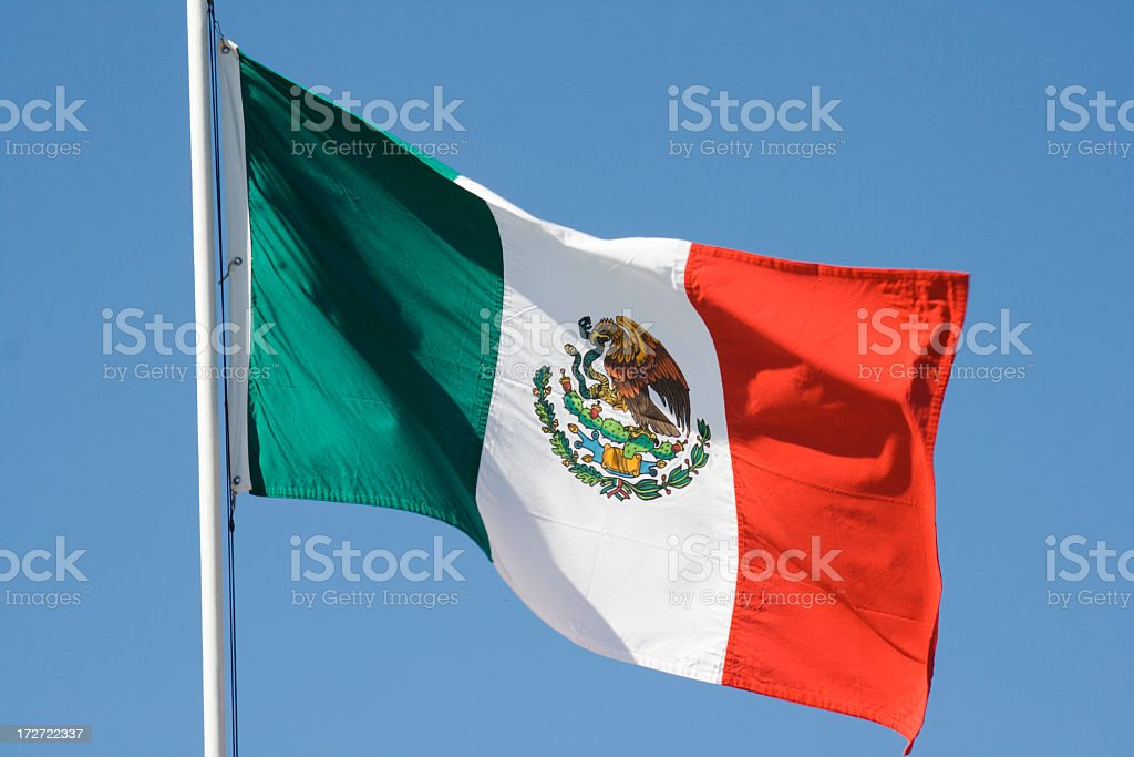 Mexican Flag, National Banner of Mexico Waving Against Blue Sky stock photo