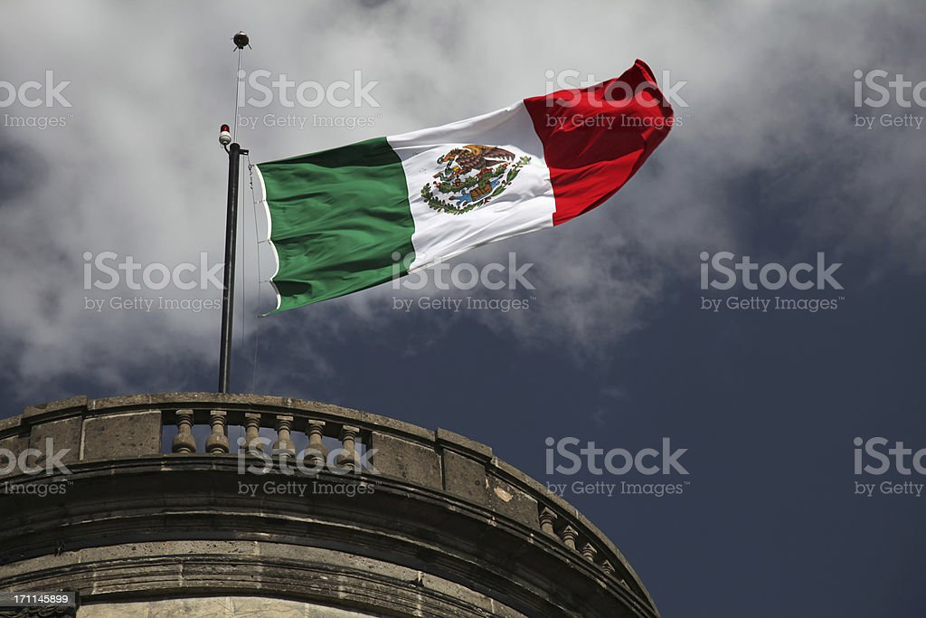 Mexican Flag on a Castle royalty-free stock photo
