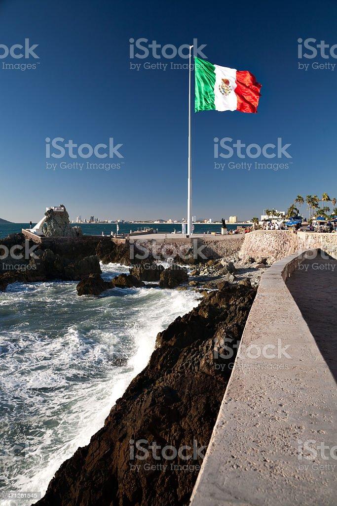 Mexican Flag over Mazatlan stock photo