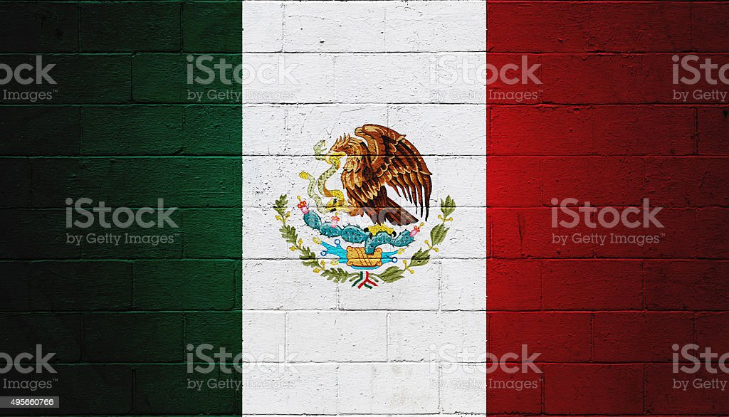 Mexican Flag painted on a wall stock photo
