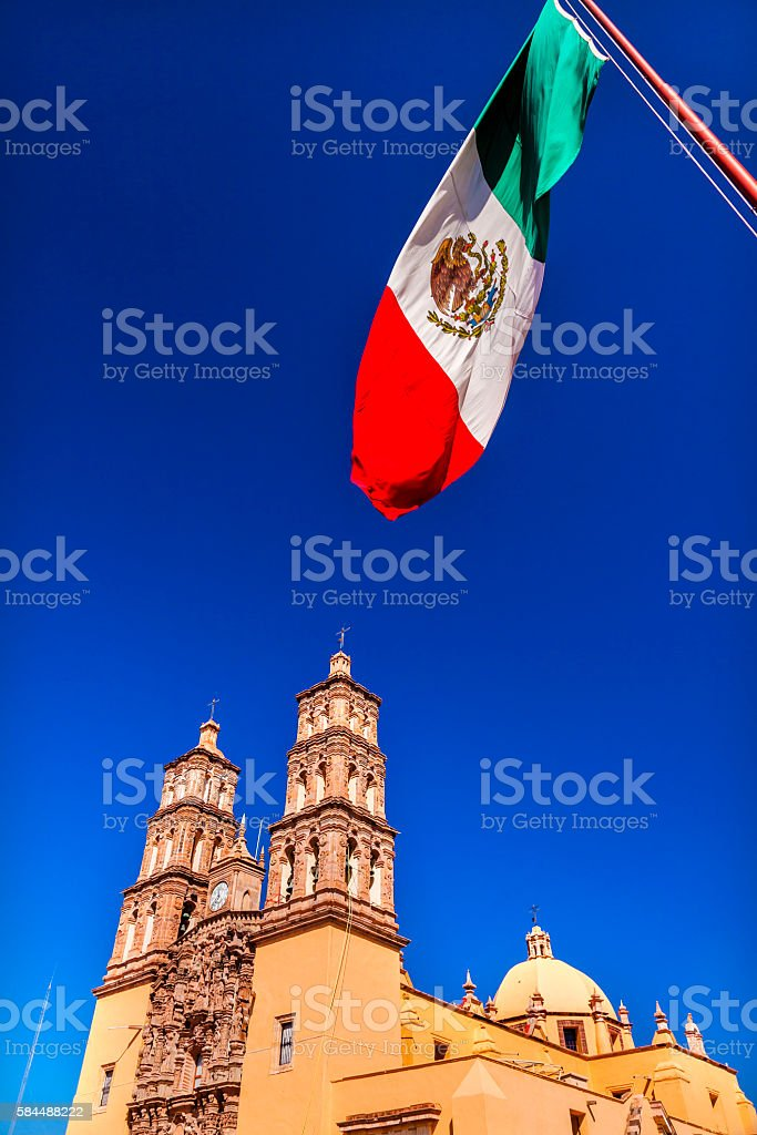 Mexican Flag Parroquia Cathedral Dolores Hidalalgo Mexico stock photo