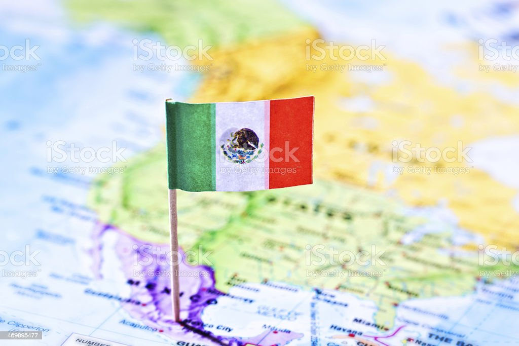 Mexican Flag Stuck Into Mexico City On Map stock photo 469895477 – Mexico City on Map