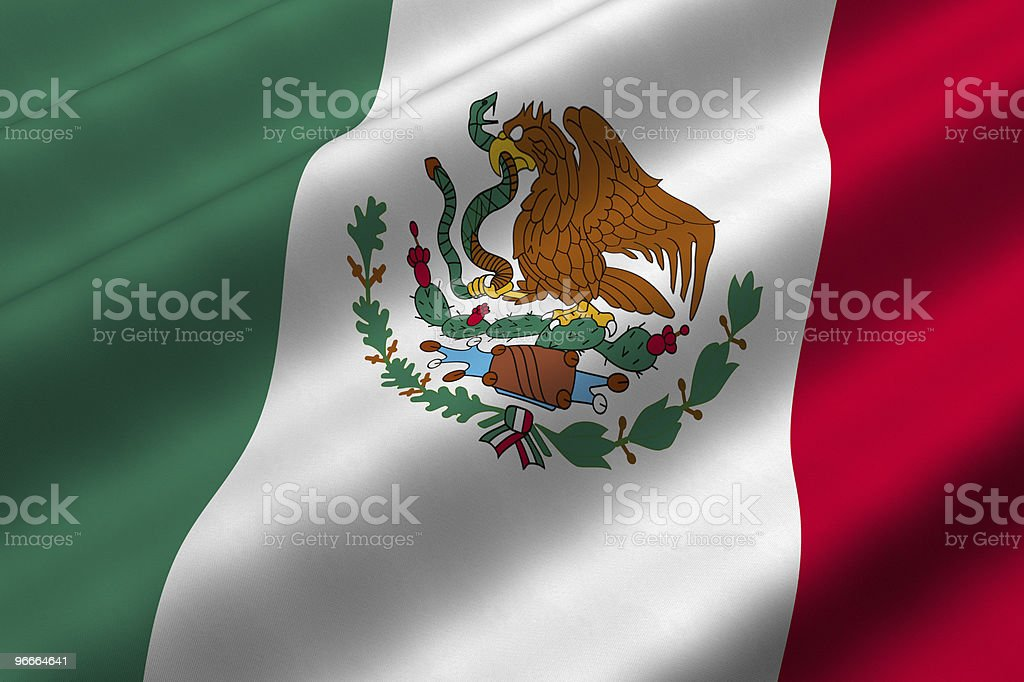 Mexican flag with eagle standing on cactus eating a snake stock photo