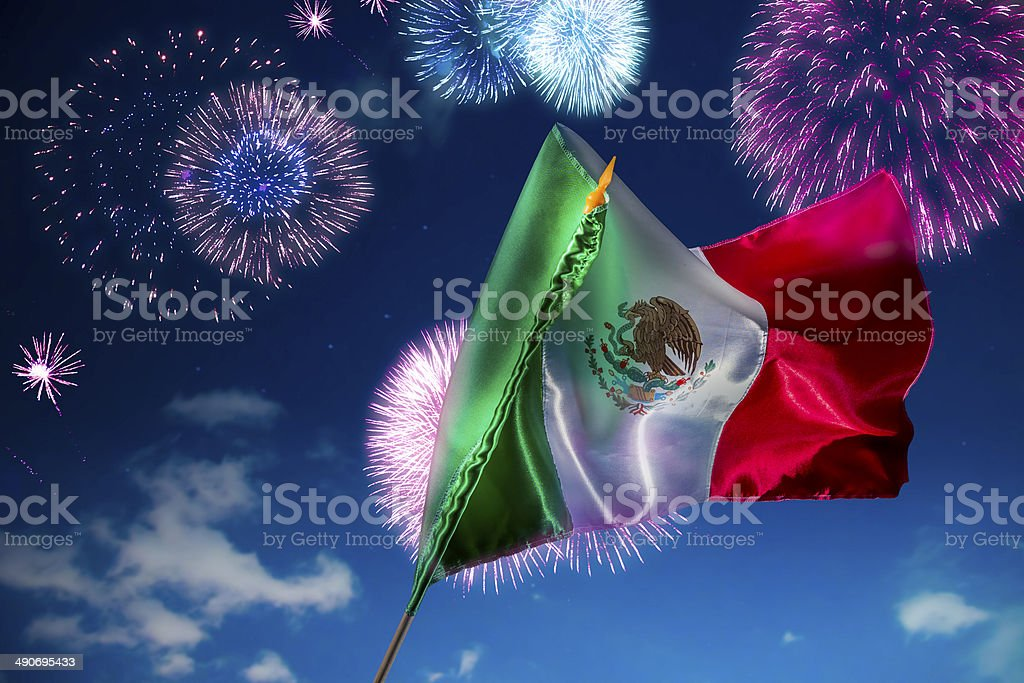 Mexican flag with fireworks, independence day, cinco de mayo cel stock photo
