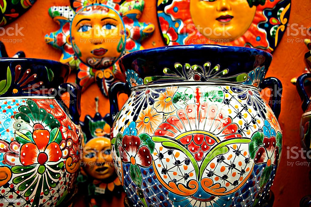 Mexican folk ceramic pottery in Cancun stock photo