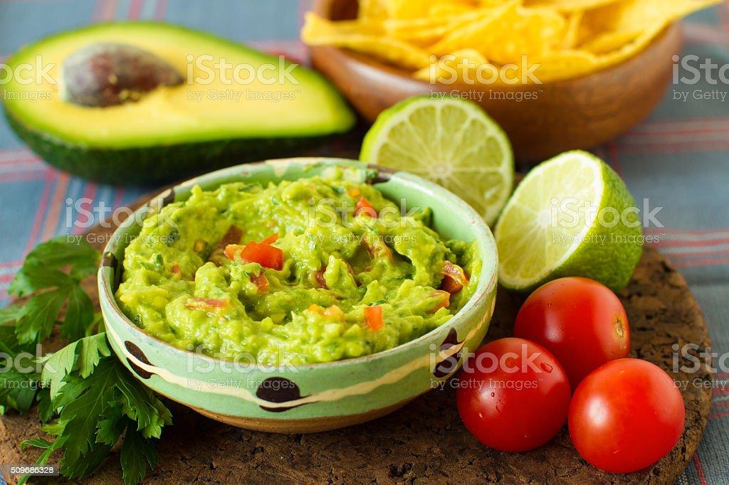 Mexican food: avocado dip stock photo