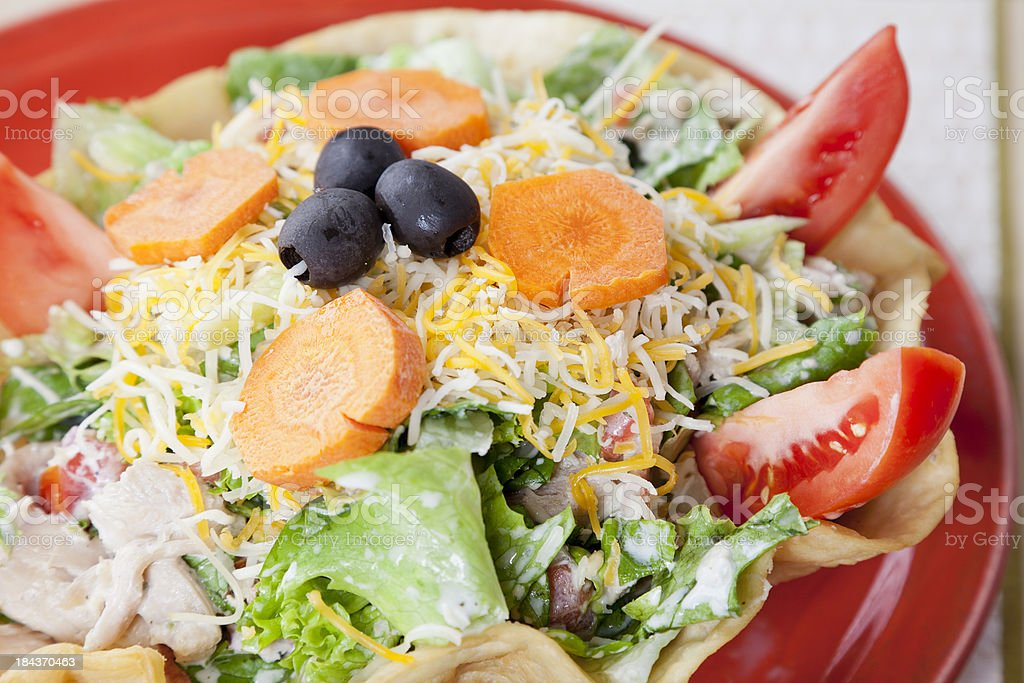 Mexican food: chicken taco salad in a crisp chalupa shell royalty-free stock photo