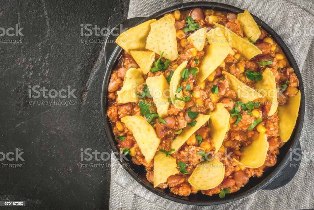 Mexican food, chili con carne stock photo