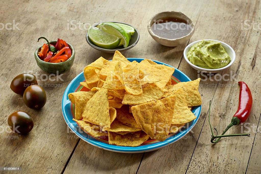 Mexican food Nachos chips stock photo