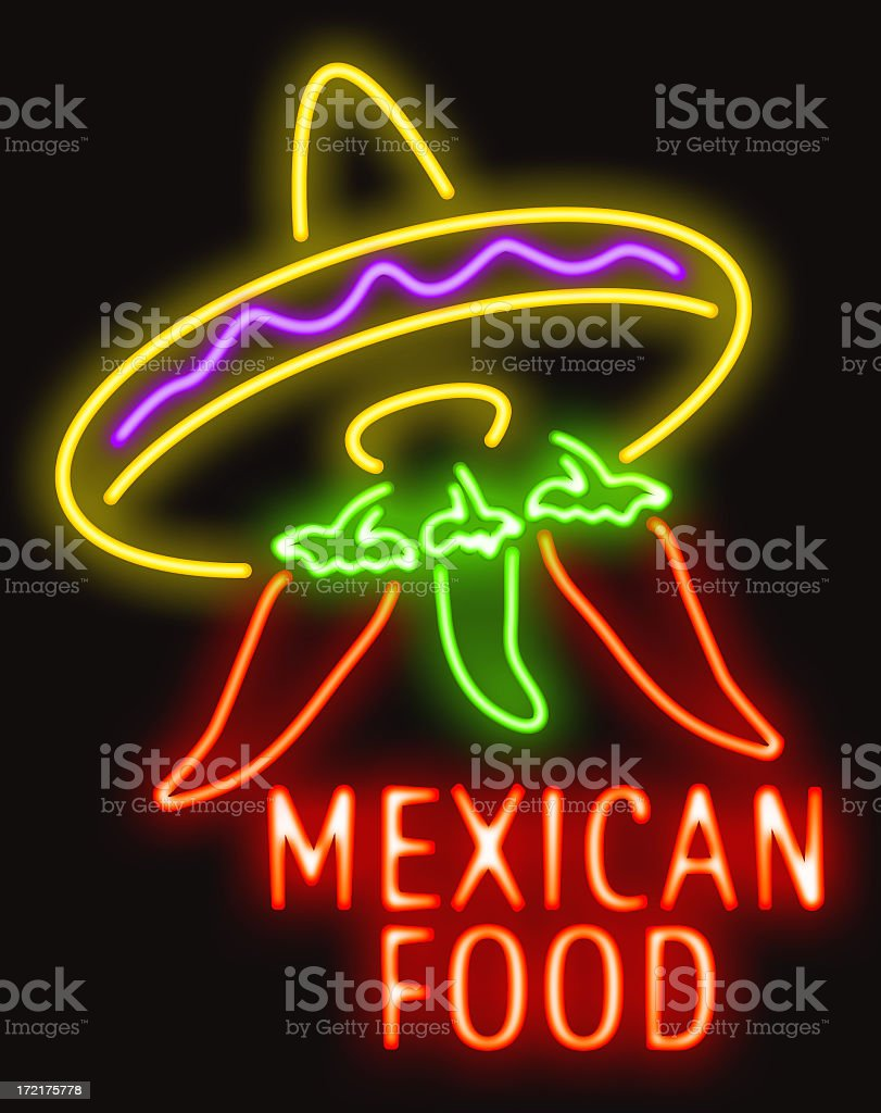 Mexican food Neon royalty-free stock photo