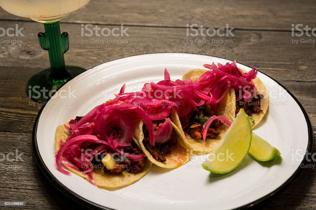 Mexican Food Purple Cabbage Taco Meal With Margarita stock photo