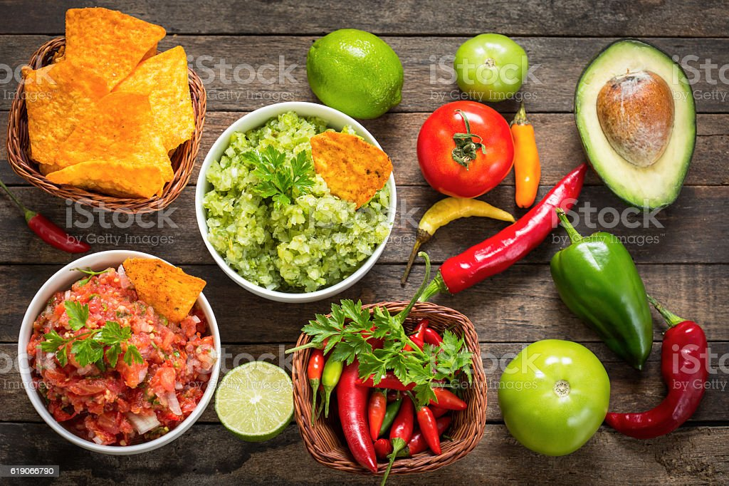 Mexican food - salsa with tortilla chip stock photo