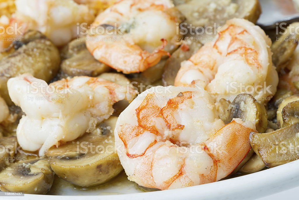 Mexican Food, Shrimp and Mushrooms royalty-free stock photo