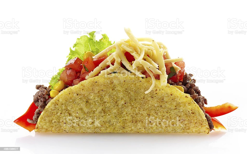 Mexican food Taco on a white background stock photo