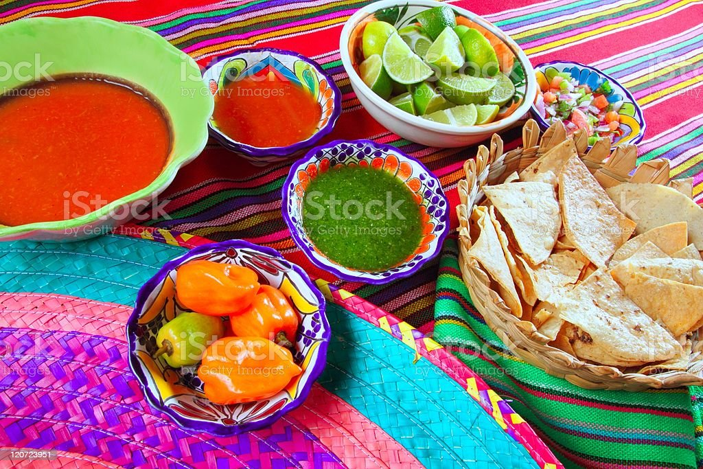 Mexican food varied chili sauces nachos lemon royalty-free stock photo