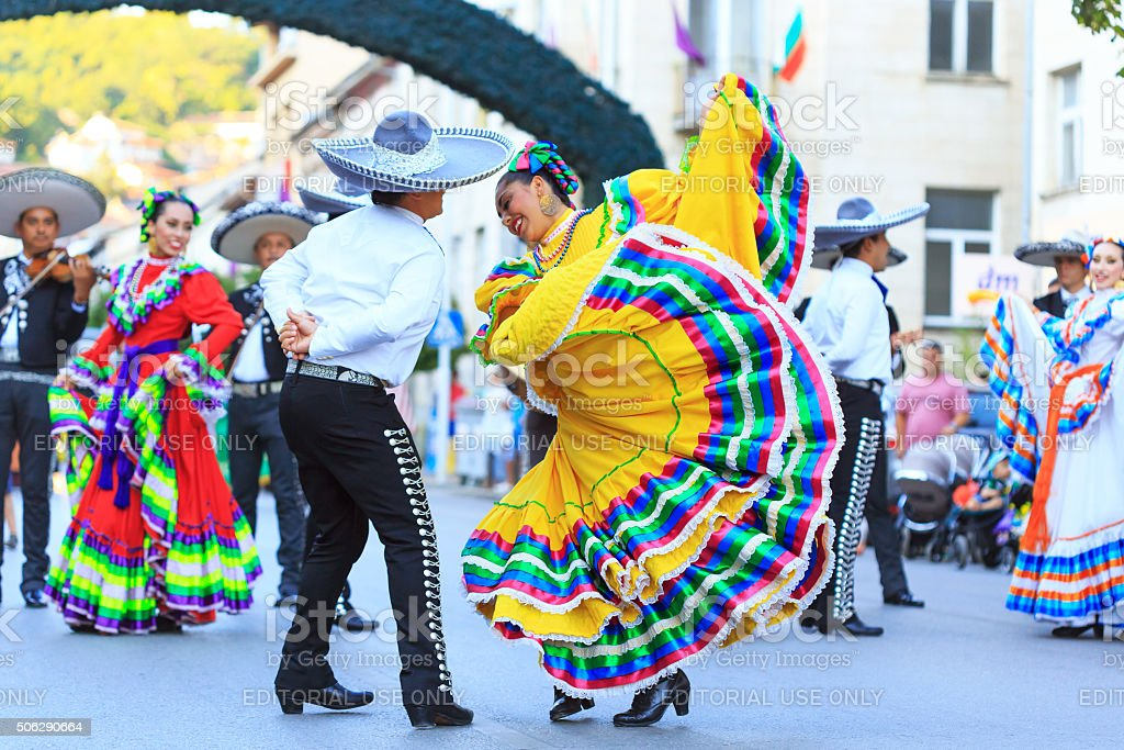 Mexican group for traditional dances at festival stock photo
