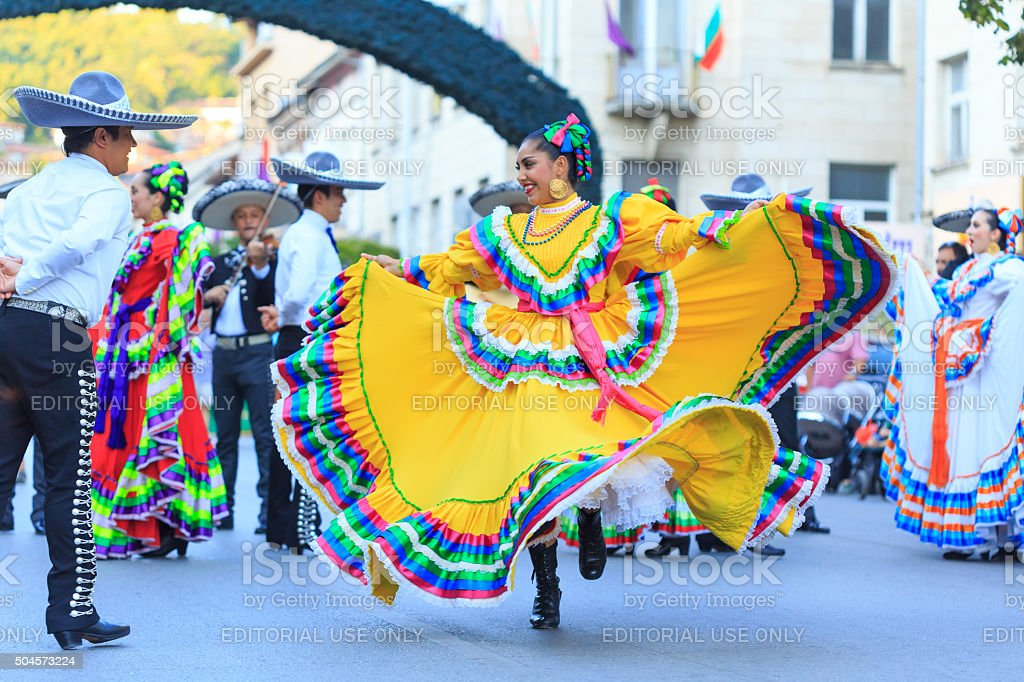 Mexican Group participating in festival's parade stock photo