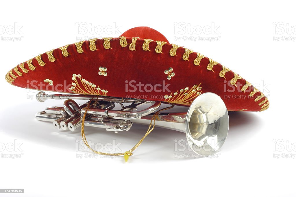 Mexican hat and trumpet royalty-free stock photo