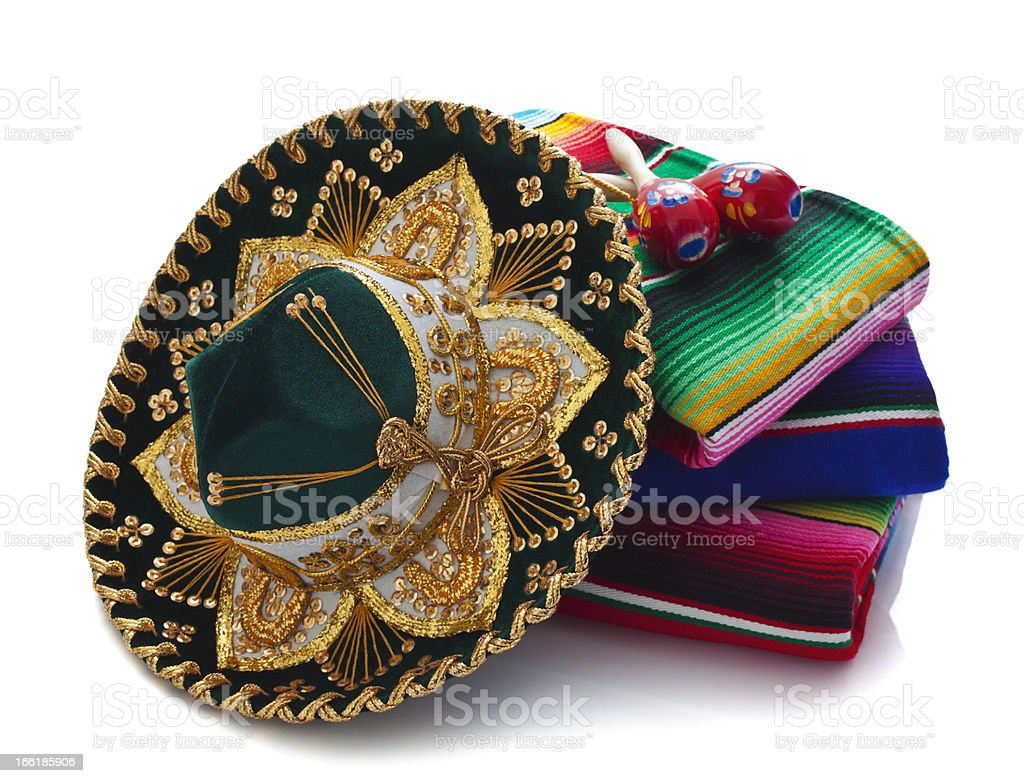 Mexican Hat, Blankets and Maracas stock photo