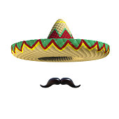 Mexican hat sombrero with mustache