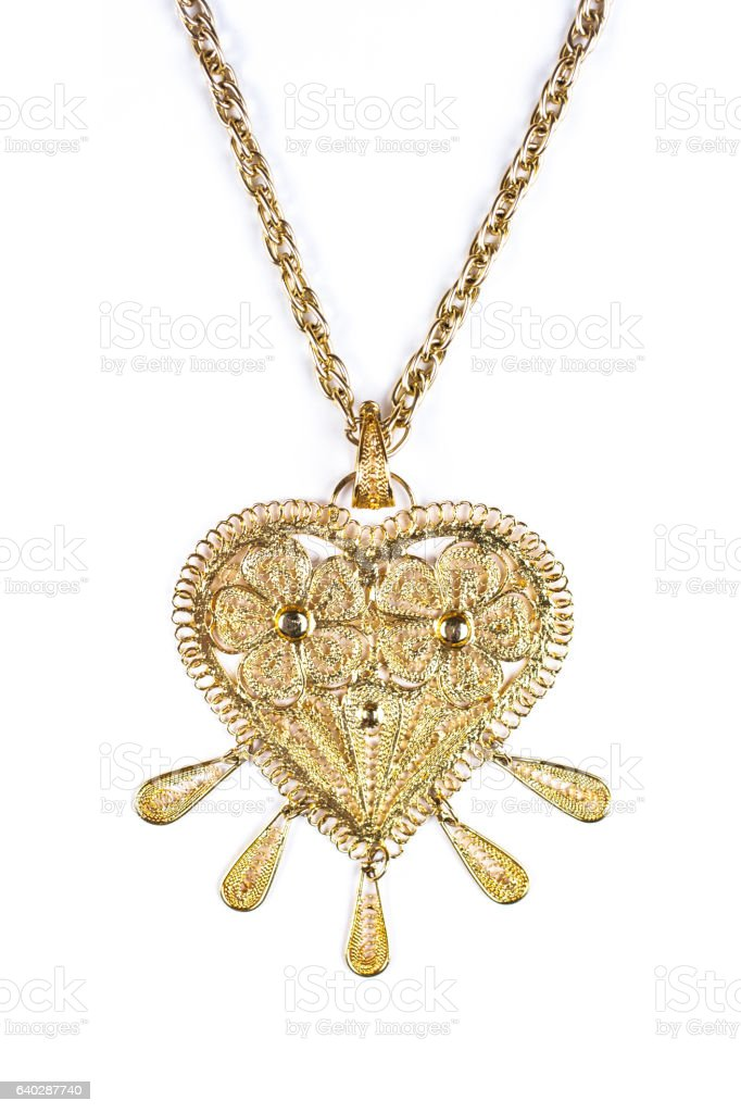 Mexican heart necklace metal stock photo