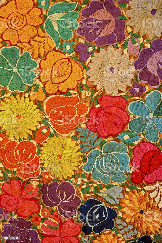 Mexican Huipil Textile Pattern Background stock photo