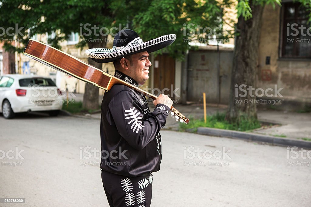 Mexican, Latin American, Spanish musicians on the streets. stock photo