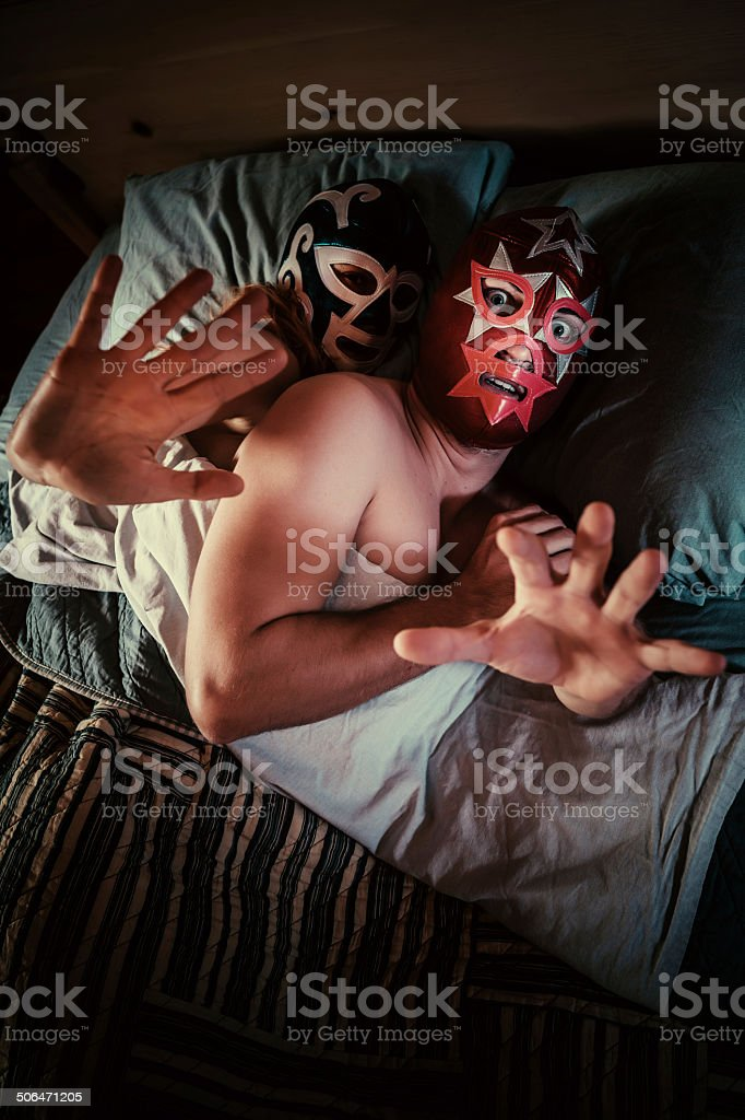 mexican lucha libre couple stock photo