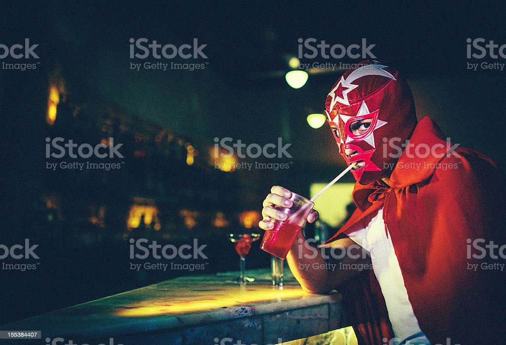 mexican luchador at a bar stock photo